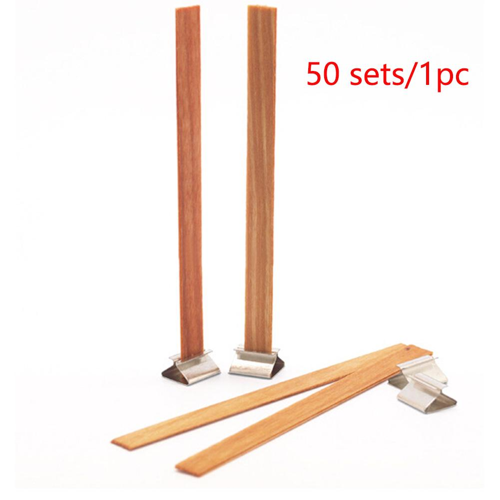 40Pcs 12.5x150mm Wooden Wick Candle Core Sustainers Tab DIY Candle Making