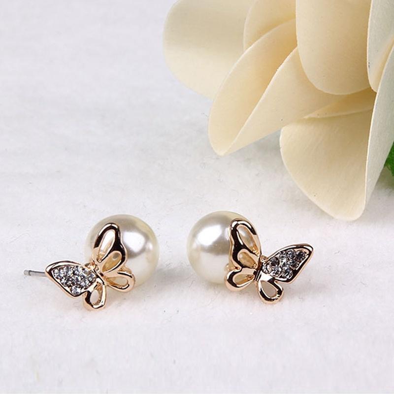 Women Crystal Golden Butterfly Imitation Pearl Ear Stud Earrings Earbob