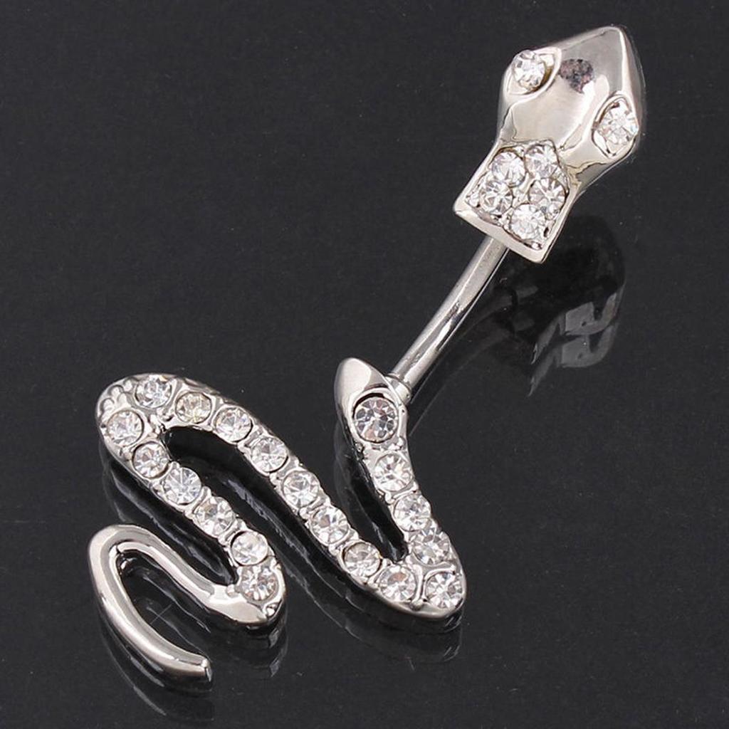 New Snake Design Belly Bar Piercing Crystal Navel Ring 316L Surgical Steel