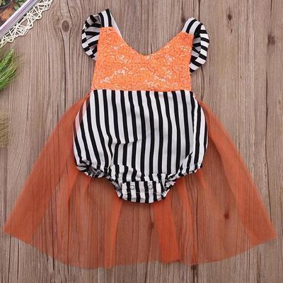 1c3f028d528241 Kid Infant Baby girl Pomarańczowy kolor Cekinowa sukienka w pionowe pasy.  Cena 11 USD