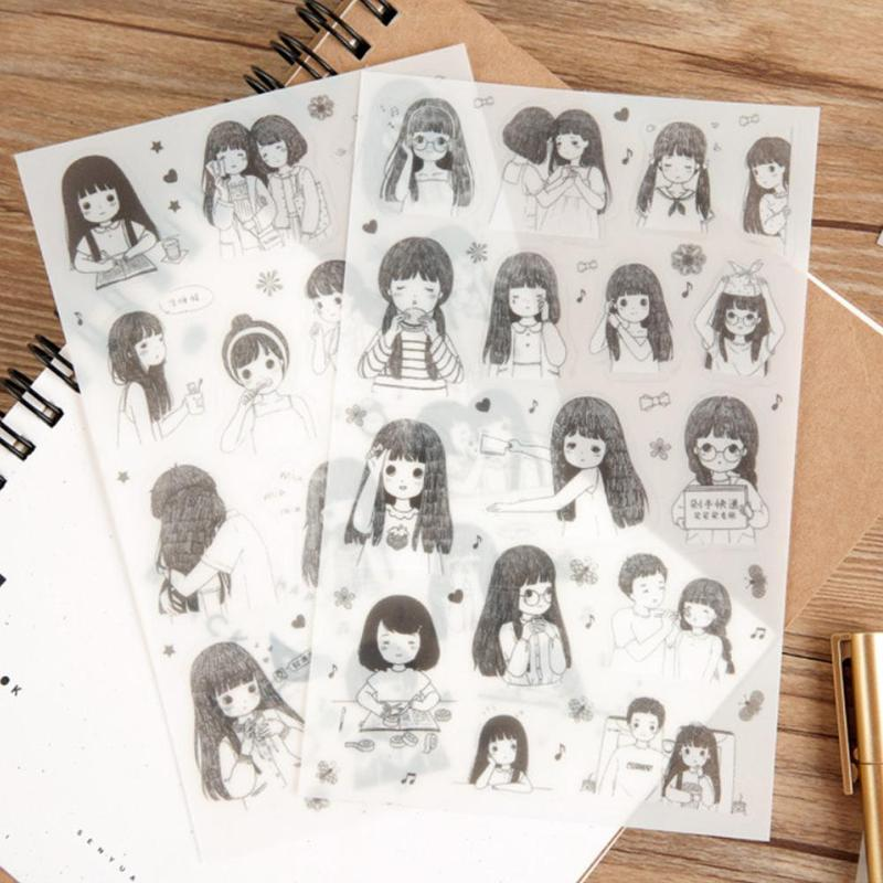 Anime Girl Black White Decorative Stickers ~ DIY Scrapbook Planner Manga Sticker