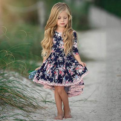 Toddler Baby Kid Girl Floral Print Ruffle Short Sleeve Front Split Dress Summer Sundress