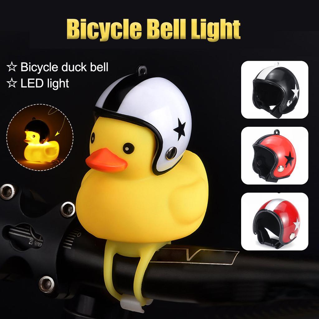 Kids Rubber Duck Helmet Propeller Bicycle Bells Bike Handlebar Horn Alarm Light
