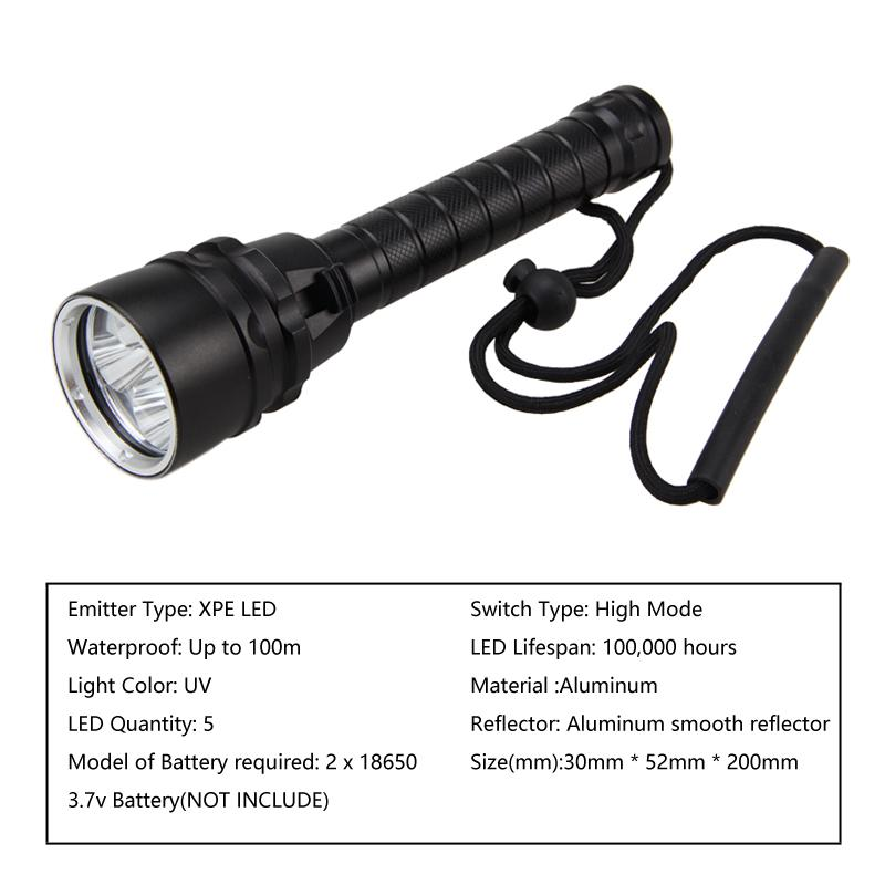 Waterproof 395nm XPE 5 LED Scuba Diving Flashlight Torch Lamp Underwater 100m