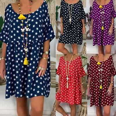 8823449d90e 5 цветов плюс размер женщины летнее платье Повседневная Dot печать платье