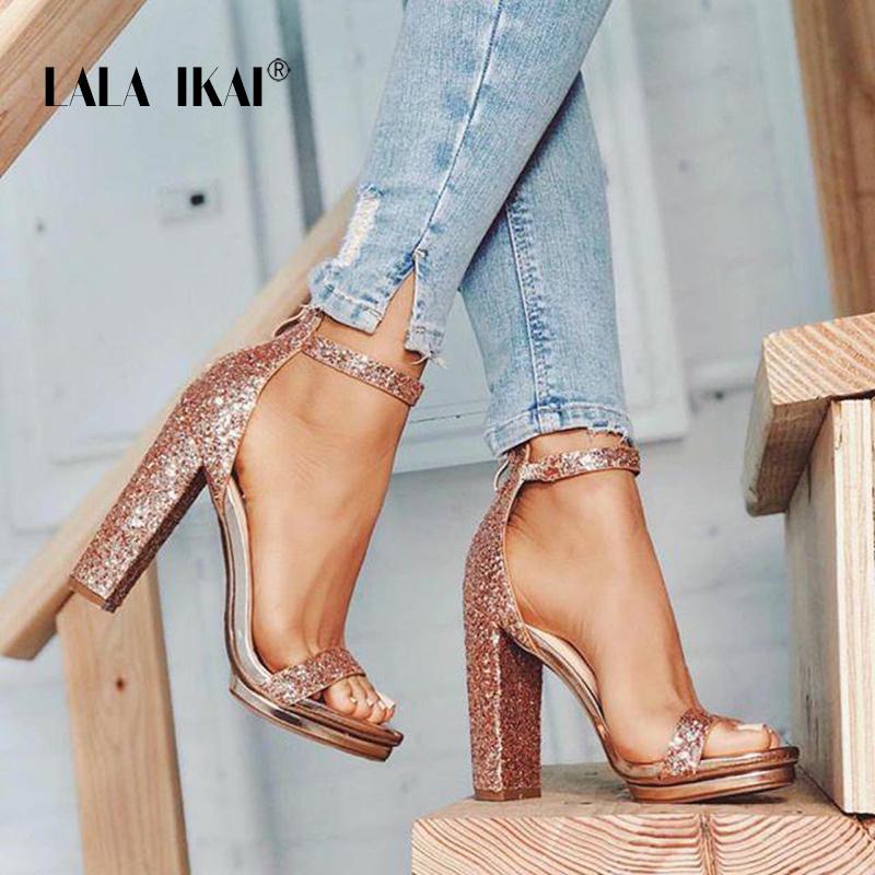 f655679b2c36 LALA IKAI Platform High Heels Women Wedding Peep Toe Sequins Sandals ...
