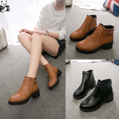 Student High-Heeled Single Boots Womens Shoes Thick Platform Boots Ankle Boots