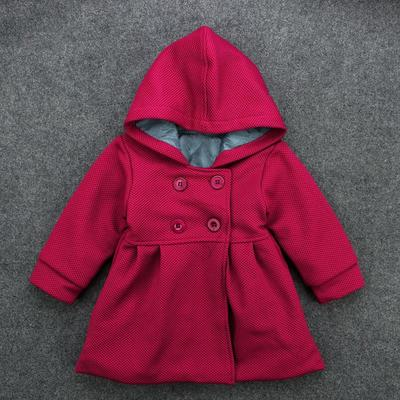 5247d441e75e Baby Toddler Girls Fall Winter Horn Button Hooded Pea Coat Outerwear ...