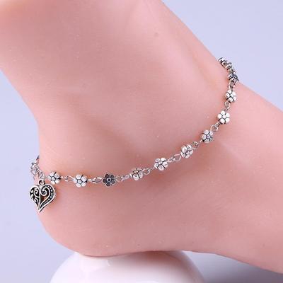 Gilroy Women Multi-Layer Ankle Bracelet Heart Pendant Charm Foot Jewelry Barefoot Sandal Beach Chain