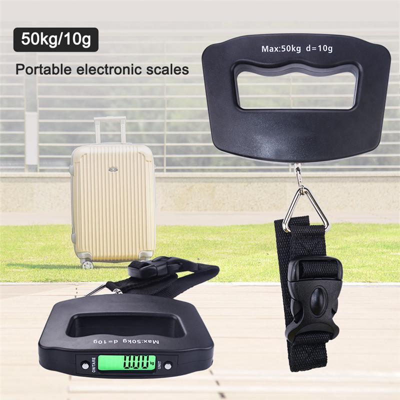 Luggage Scale Mini LCD Digital Electronic Suitcase Scale Hanging Scales Support Max Load 50Kg Portable Luggage Weight Scale for Travel.
