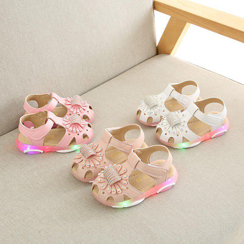 Baby Girls Flowers Sandals Lighted Soft-Soled Princess Baby Flat Beach Sandals