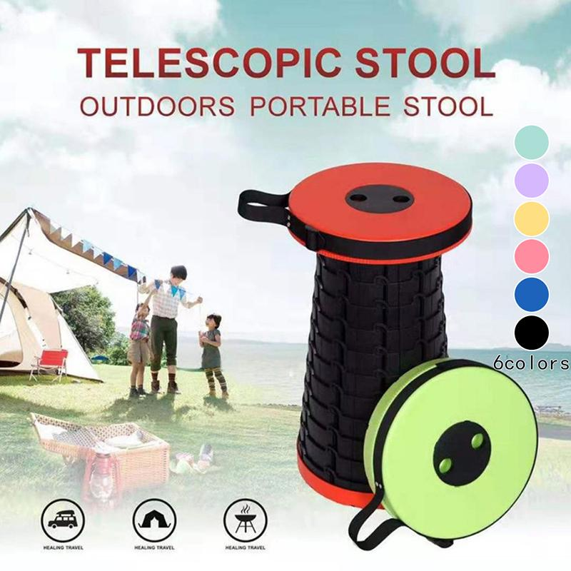 Camping Folding Stool Seat Retractable Plastic Outdoor Fishing Chair Portable