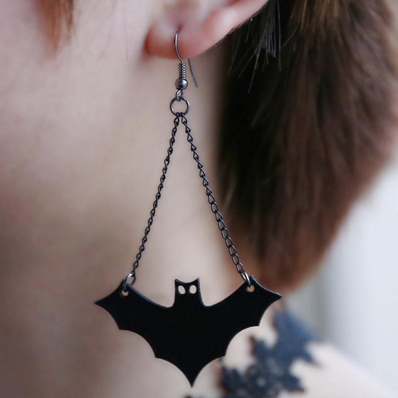 Murciélago Colgante Pendiente De Halloween Retro Vintage Negro PU Cuero Bat Gancho Pendientes