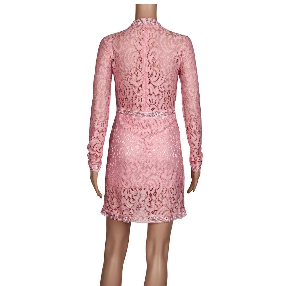 Mujeres Sexy rosa cordón hueco manga larga delgado Vestido fiesta ...