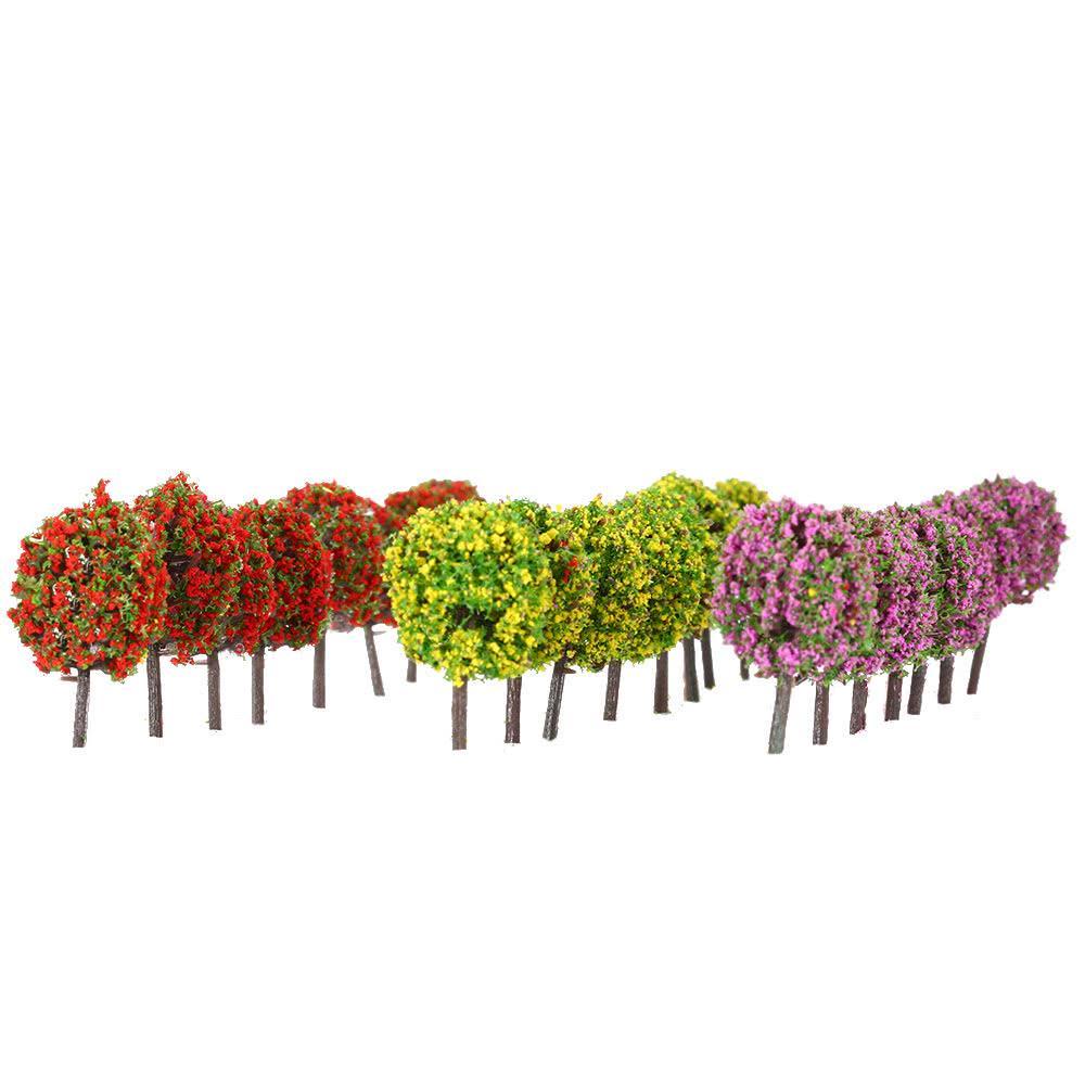 30pcs Mixed Flower Model Ball Trees Train Garden Park Scenery 1:100 HO Layout