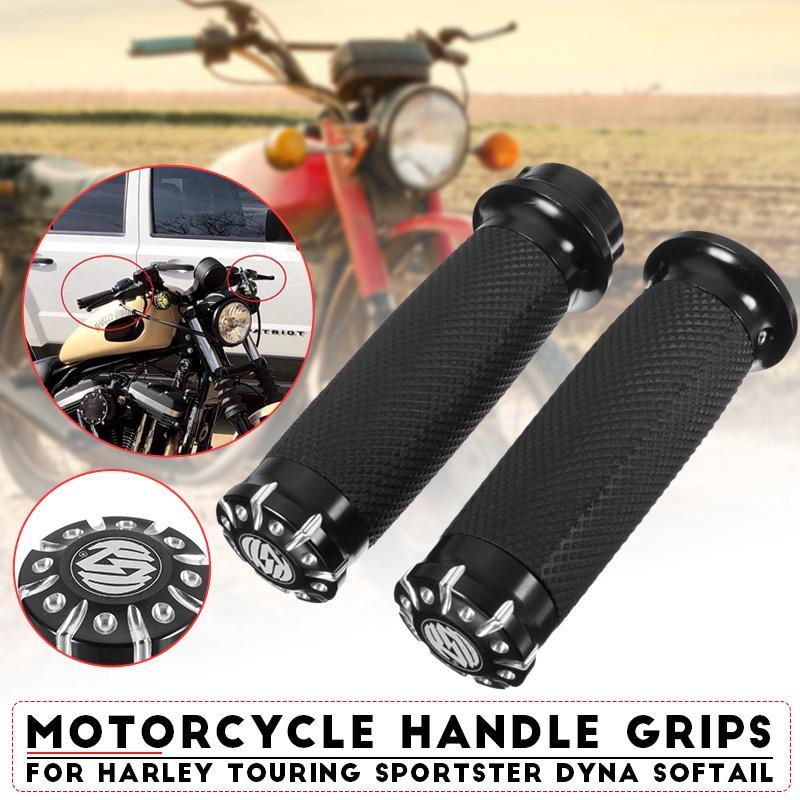 "Black Skull 1/"" 25mm Hand grips For Harley Davidson Customs Dyna Softail Touring"