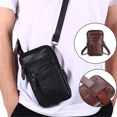 Multi-function Genuine Leather Shoulder Messenger Bag Handbag Belt Bag for Men Casual Leisure Phone Bag