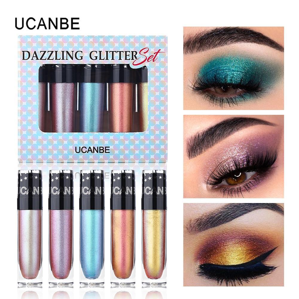5 шт. / Лот Ucanbe Dazzling Glitter & Sparkle Жидкие тени для век блестящие стойкие тени для век многоцветный дуохромный блеск для век косметика для макияжа – купить по низким ценам в интернет-магазине Joom