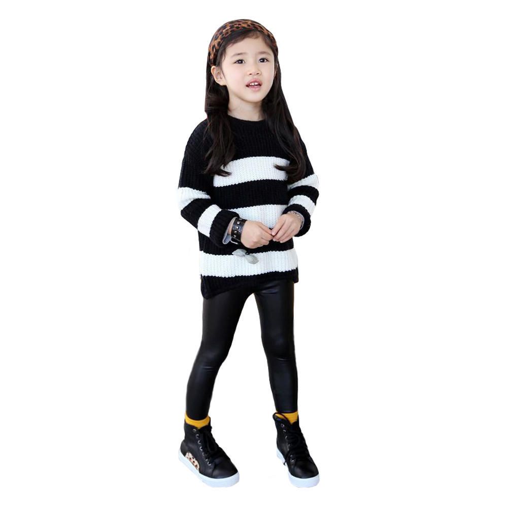 Chic Toddler Baby Girls Stretchy Leggings Trousers Kid PU Leather Pants 3-12Y