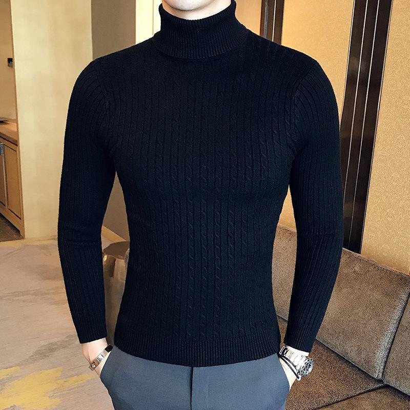Men High Neck Jumper Knitwear Knit Pullover Slim Sweater Winter Warm Thick Tops