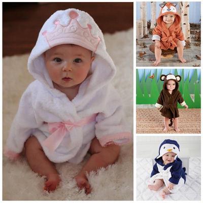 8104b20656a5 Baby Boy Girl Animal Baby Bathrobe Baby Hooded Bath Towel Infant ...