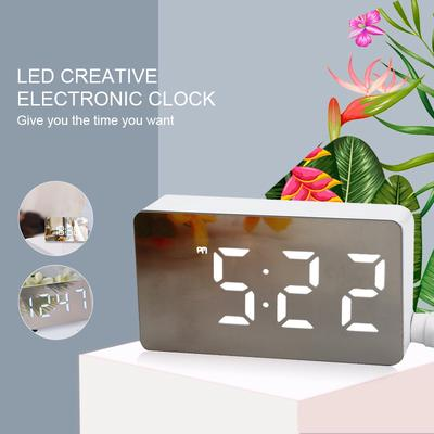 Home LED Mirror Clock Mini Digital Electronic Alarm Clock With Time Date Temperature Display