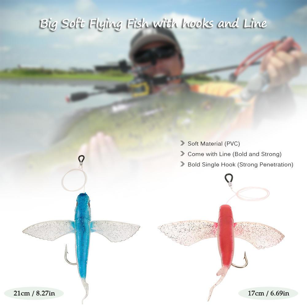 1* 17cm Soft Fishing Bait Flying Fish Lure Tracle Trolling Tuna w//Fishing Line