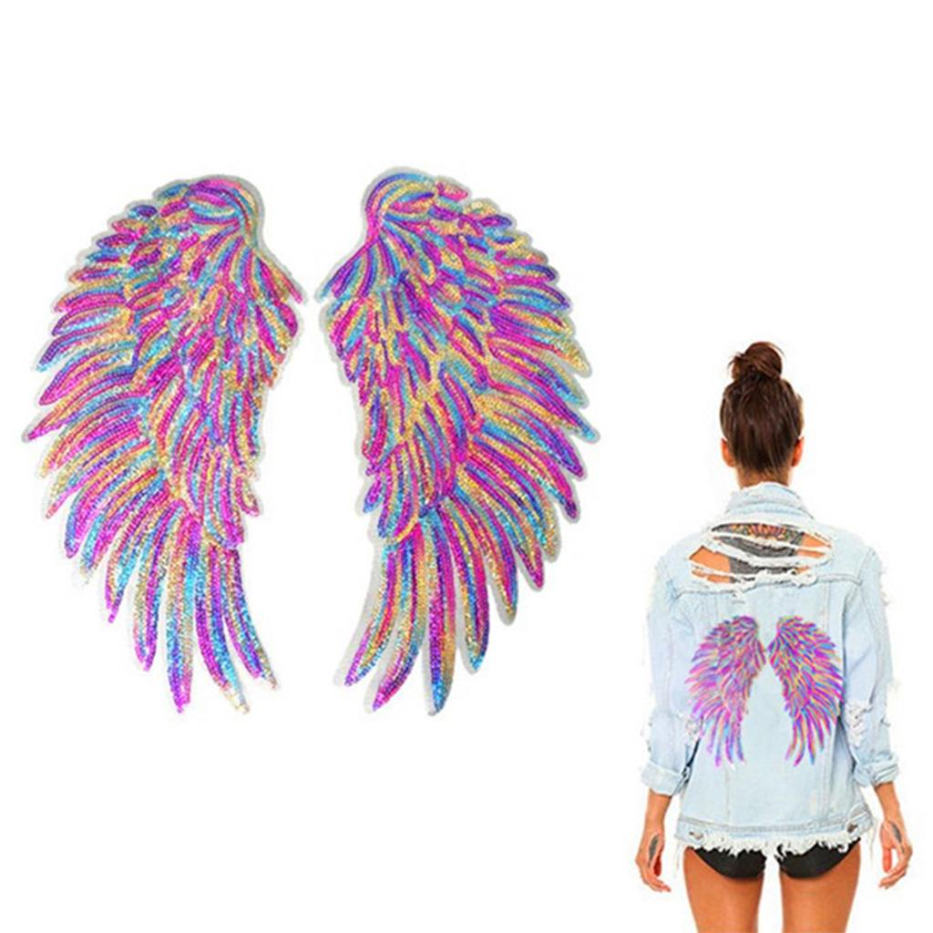 2pack Colorful Sequins Patch Diy Angel Wings Clothes Sew On Applique Sticker Buy From 6 On Joom E Commerce Platform