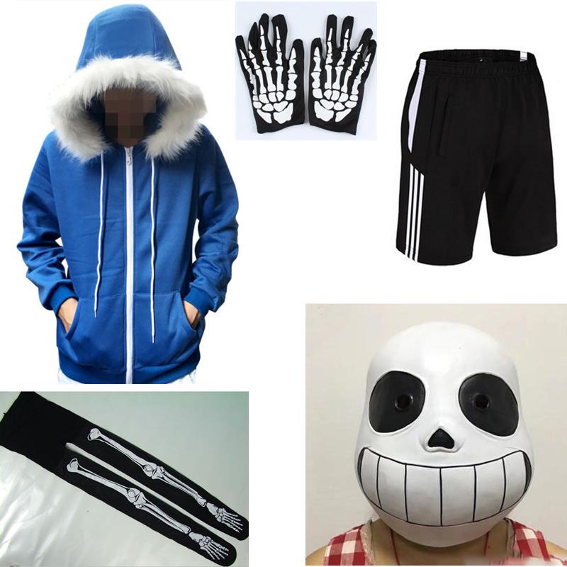 Game Undertale Sans Cosplay Costume Hoodie Shorts Stocking Mask