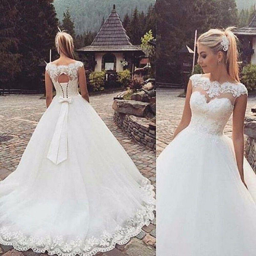 Braut weiße Spitze Kurzarm Trailing süße Prinzessin Brautkleid