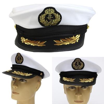 Gorra Blanca de Marina capitán de barco yate adulto traje fiesta Cosplay  Vestido Sombrero de marinero 156e44dcb73