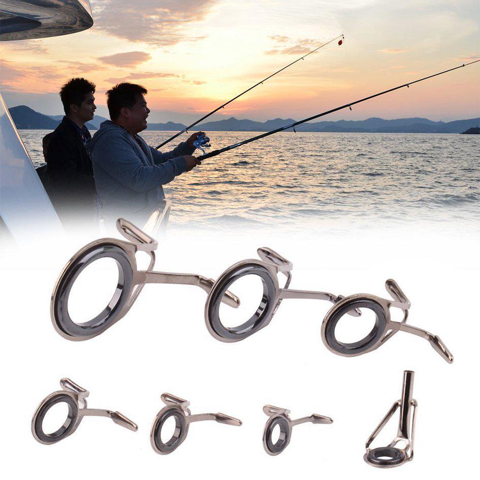 7Pcs Mixed Size Fishing Top Rings Rod Pole Repair Kit Line Guides Eyes Sets