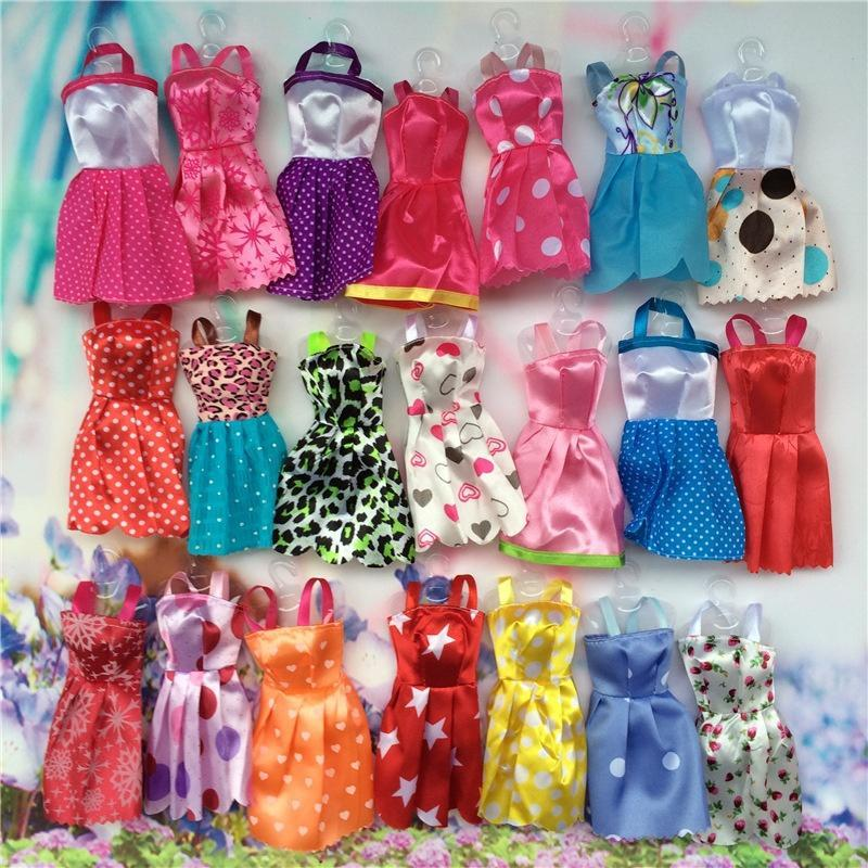 10PCS Handmade Party Clothes Fashion Dress for  Doll Mixed Charm FL/_sh