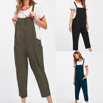 Corsion Women Casual Sleeveless Jumpsuits Overalls Bib Pants Dungaree Trousers