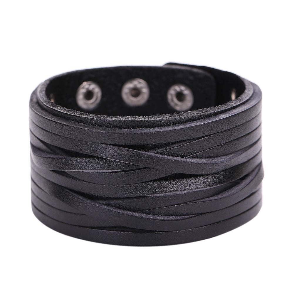 Vintage Two Layers Leather Bracelets Braided Rope Snap Button Cuff Bangle 23cm