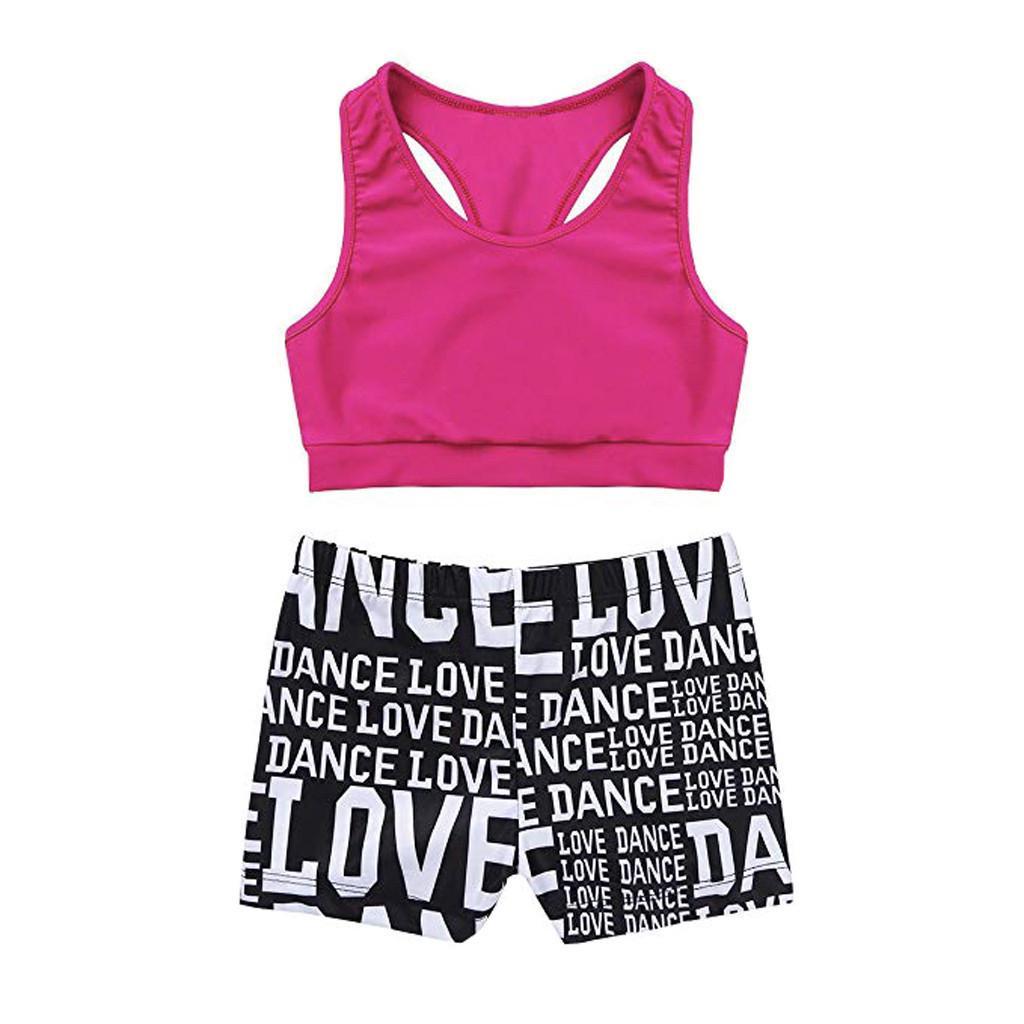 2Pcs Kids Girls Sequined Racer Back Top and Shorts Jazz Hip-Hop Dance Sets for Gymnastics Leotard Dancing