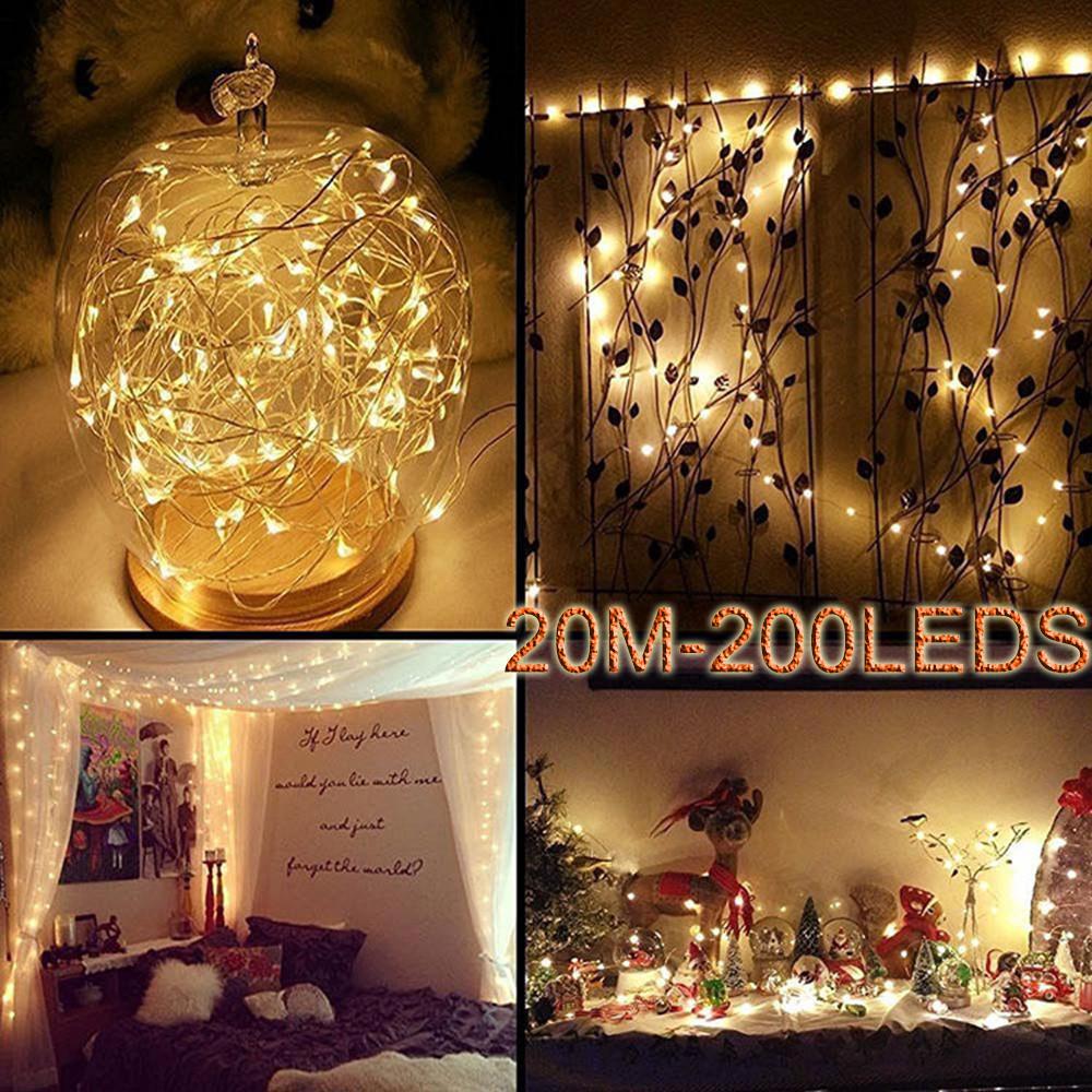 Светодиодная гирлянда на батарейках с мини LED лампами на медной проволоке для новогоднего декора фото