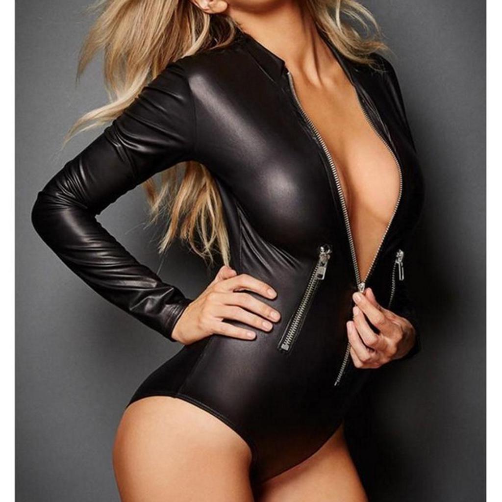 Women/'s PU Leather Bodysuit Wet Look Long Sleeve Zip Teddy Leotard Jumpsuit