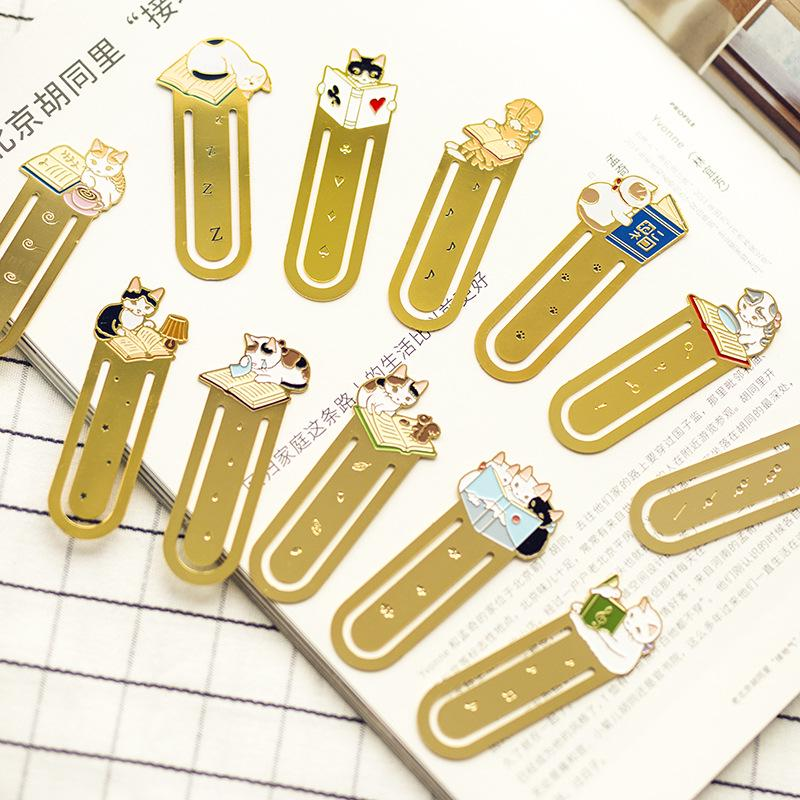 colore casuale Vintage metallo piuma segnalibro Notebook Pagine Marcatori scuola ufficio 7 pc