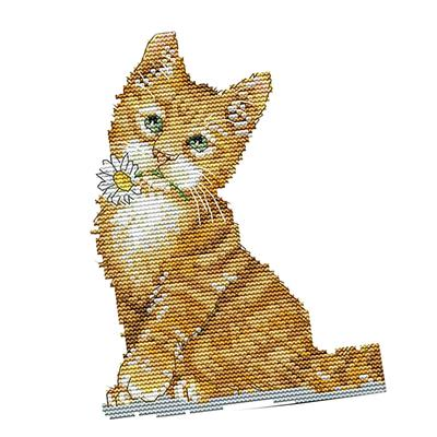 Lovely Cats Stamped Cross Stitch Kit for Beginners Adults Kids 14CT 32x41cm