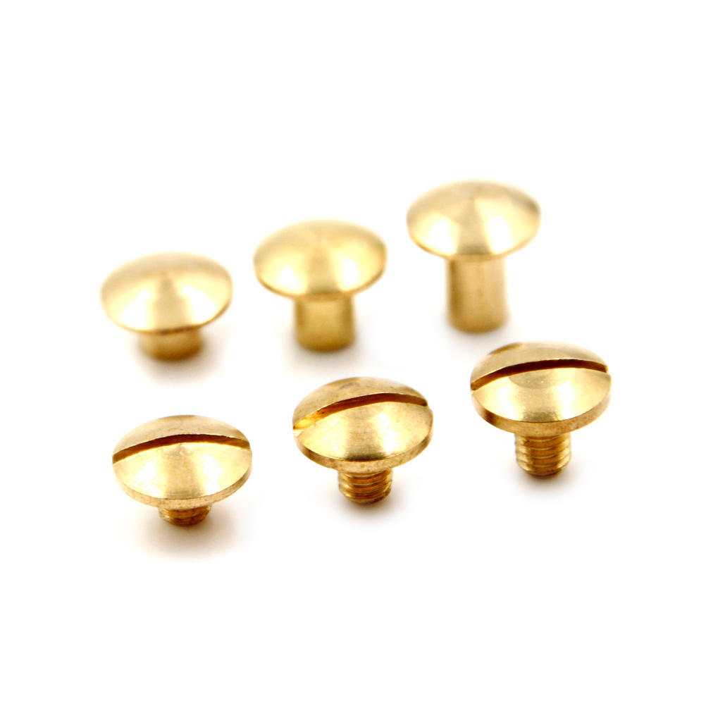 10x Arc Solid Brass Button Stud Nail Screw Back Leather Goods,Straps Rivet BeltH