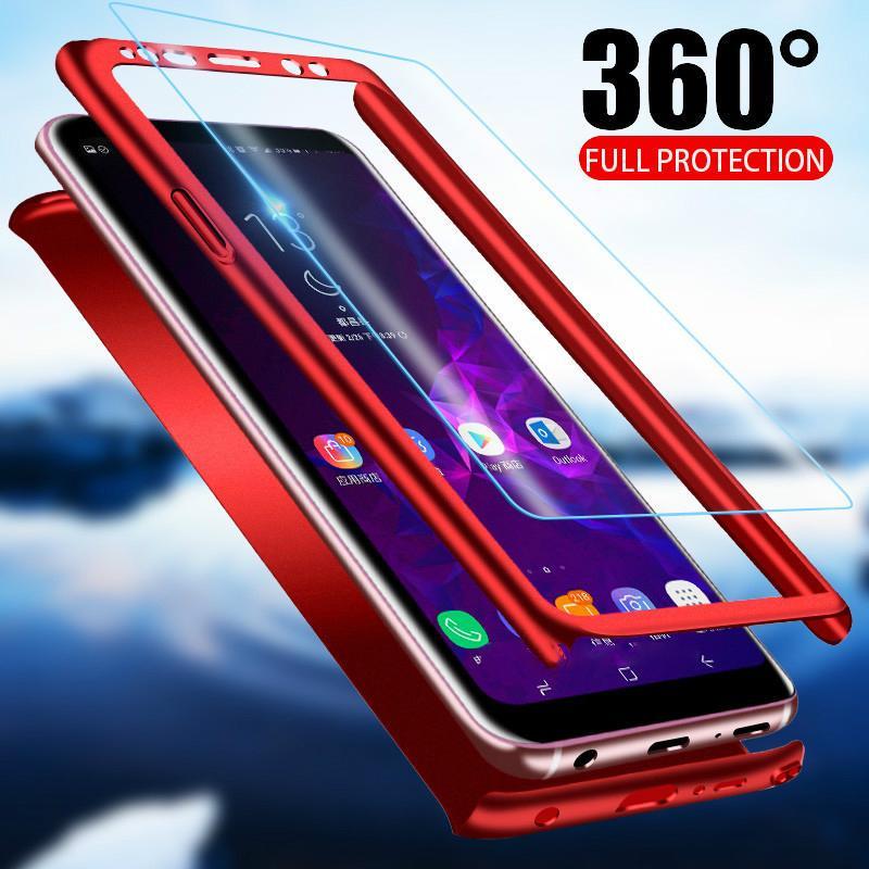 360 полный защитный телефона чехол для iPhone Samsung Huawei Xiaomi защиты покрытия PC + закаленное стекло фото