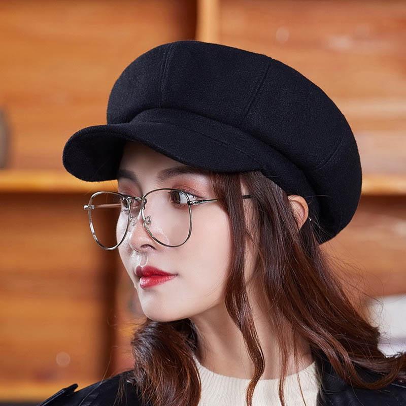6e5421927cf95 Fashion Women Vintage Solid Wool Gatsby Newsboy Octagonal Hat Cabbie ...