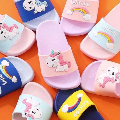 Children's Pink Cute Girl Unicorn Rainbow Slippers Summer Non-slip Baby Slippers