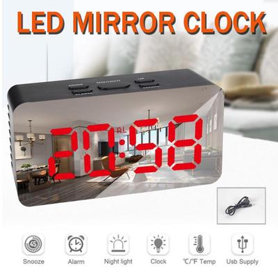 Multi-Function LED Watch Makeup Mirror Alarm Clock Battery Plug In Dual Purpose Mirror Alarm Clock
