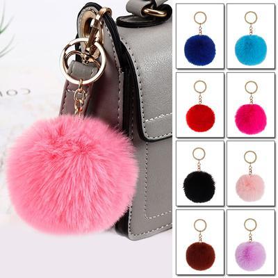 1PC Pendant Jewelry Key Chains Pendant Fur Ball Keychain Fur Fluffy Decoration Soft Women