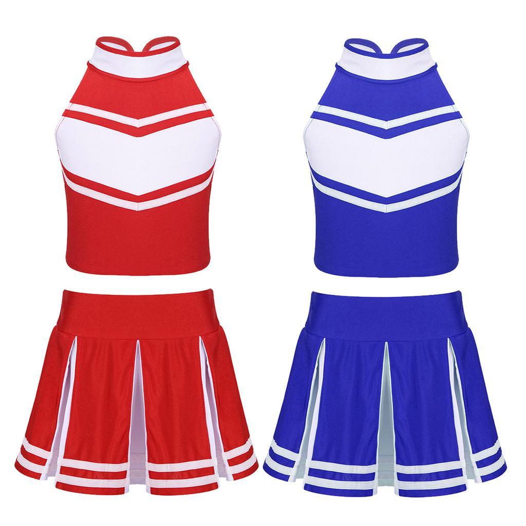 Kid Girl Cheerleader Costume High School Shiny Sequins Jazz Dance Gym Outfit Set