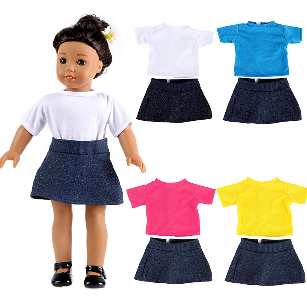 2pcs Clothes for 14 inch AG American Doll Doll Dress Skirt Outfits Bow Outfits