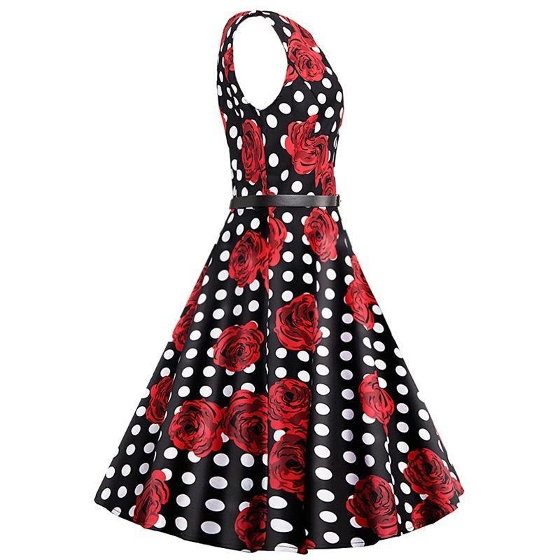 1967d3bbeb Kobiety w stylu retro róża polka dot wydrukować party rocznika ...