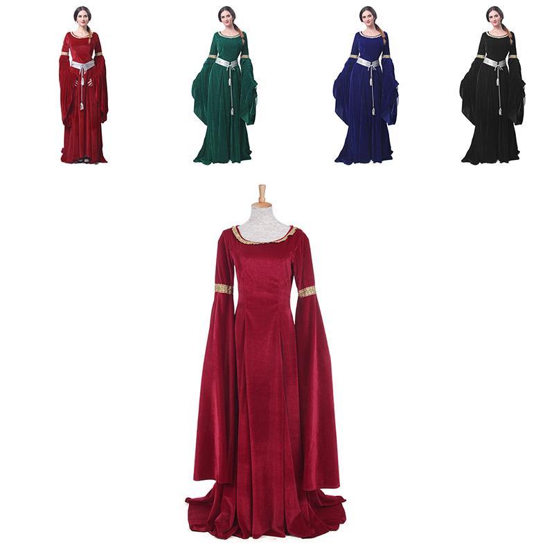 Halloween Costume Medieval Womens Velvet Long Bell Maxi Dress Queen Ball Gown